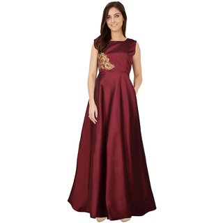 Florence Maroon Tafetta Silk Printed Stitched Gown