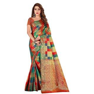 Florence Red Silk Kanjivaram Saree With Blouse