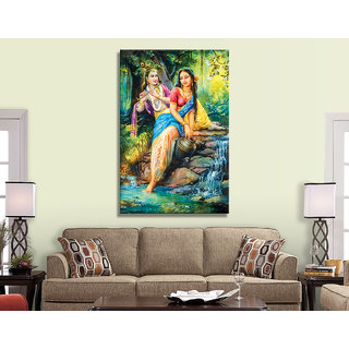 Radha Krishna Painting Wallpaper for Living Room UV Print Canvas Size 4.5 x 3 Feet