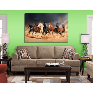 CR04 Seven Running Horses Painting for Living Room Vastu UV Print Canvas Size 4.5 x 3 Feet