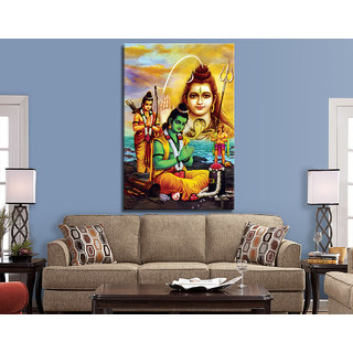 Ram Praying Lord Shiva Painting for Living Room UV Print Canvas Size 4.5 x 3 Feet