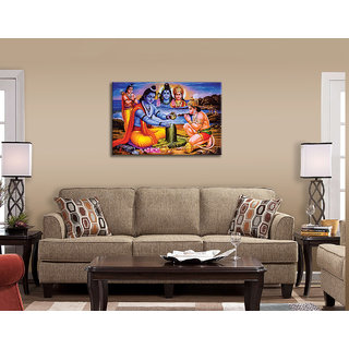 Sri Ram Praying Lord Shiva Painting Wall Stickers for Living Room UV Print Synthetic Sticker Size 3 feet x 2 Feet