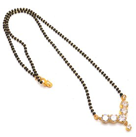 Jewar Mandi Mangalsutra Gold Plated Ad Cz Gemstones Handmade Jewelry with Crystal Chain for Women