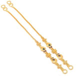 Jewar Mandi Ear Chain Gold Plated Handmade Meena Work Kanoti Kan Chain Jewelry for Women  Girls