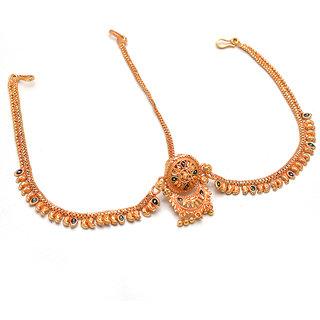 Jewar Mandi Mang Tika/Tikka Rajputi One Gram Gold Plated HandmadeMeena Work Rajasthani Bodla Bor Jewelry for Women  Girls