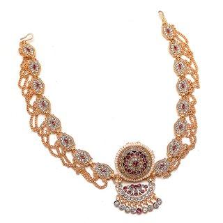 Jewar Mandi Mang Tika/Tikka Rajputi Gold Plated Pearl Ad Cz Gemstones Handmade Rajasthani Bodla Bor Jewelry for Women  Girls