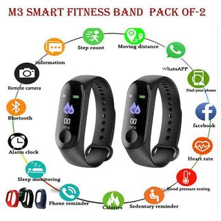 Dawn M3 Smart Band With Heart Rate Sensor Features And Many Other Impressive Features, Pack of-2 Water Proof Or Swe