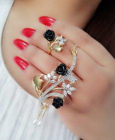 Navya Collection American Diamond Bracelet Ring Combo Set