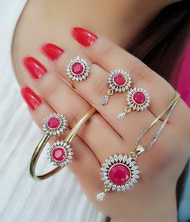Navya Collection American Diamond Pendant Bracelet and Ring Combo Set