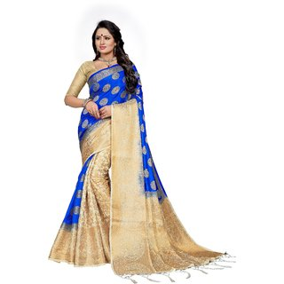 GIFT ICON Women's Zari Work Banarasi Silk Saree with Blouse Piece (GILOOKS004-1)