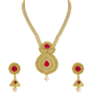 Om Jewells Traditional Ethnic Pear Shaped Necklace Set with Red Kundan Stones for Girls and Women NL1000565