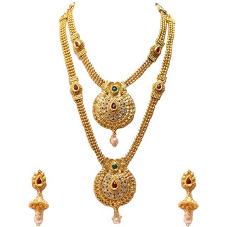 Om Jewells Traditional Gold Plated Haram Dual Size Necklace Set Studded with Kundan Stones for Girls and Women NL1000568