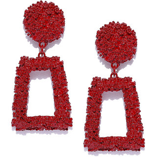 Jewels Galaxy Elegant Geometric Brilliant Statement Long Dangle Earrings For Women/Girls