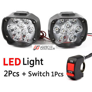 ESHOPGLEE 2 LED Bulbs Fog Lamps With 1 Switch - Pack Of 3