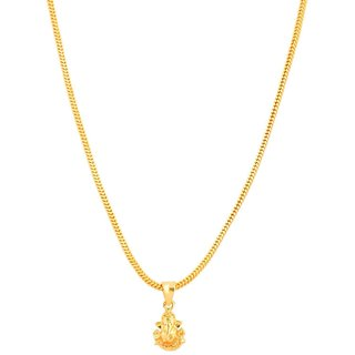 Jewar Mandi Chain Traditional Ethnic One Gram Gold Plated With Lord Ganesh Ji Pendant Jewelry for Women  Girls