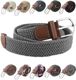 DDH Multicolor Fabric Strechable Pin-Hole Buckle Belt Up To 44 Inches (Assorted Color)