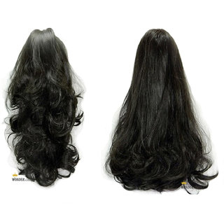 WONDER CHOICE 2-In-1 Stylish Party Look Hair Extensions (Black)