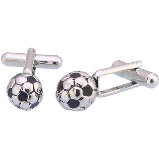 Sukkhi Ritzy 3d Silver And Black Soccer Ball Football Cufflinks For Men