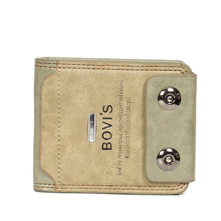 Bovis Beige PU Leather Single fold Wallet For Men's (Synthetic leather/Rexine)