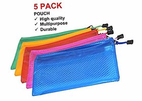 Zipper Mesh Pouch 5Pcs Pencil Pen Stationary Holder Case Travel Document Holder Bag Cosmetics Pouch - Colors May Vary (2