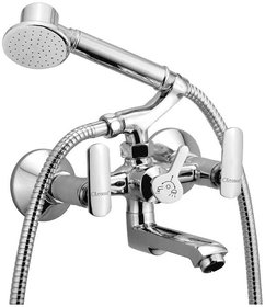 Oleanna Speed Brass Wall Mixer Telephonic with Hand Shower and Crurtch (Chrome Finish)