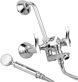 Oleanna Angel Brass Wall Mixer 3 in 1 with Hand Shower (Crutch) - Chrome Finish