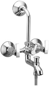 Oleanna Desire Brass Wall Mixer 3 in 1 with L-Bend 220mm Quarter Turn | Chrome Finish