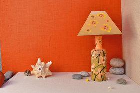 Long Orange Flower Terracotta Lamp