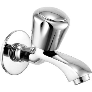 Oleanna Royal Brass Long Nose Water Taps with Wall Flange - Chrome Finish