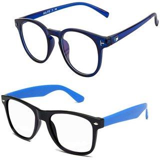 Essaar Fashion Spike Blue Clear Frame and Wayfarer Sunglasses Combo