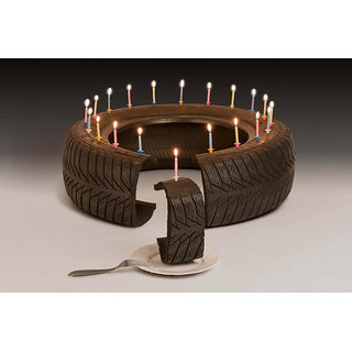 5 ACE CANDELS WITH CHOCOLATE CAKE TYRE WALL POSTER STICKER FOR BEDROOM,LIVING ROOM,OFFICES OF 300 GSM (12x18 )inch WITHOUT FRAME