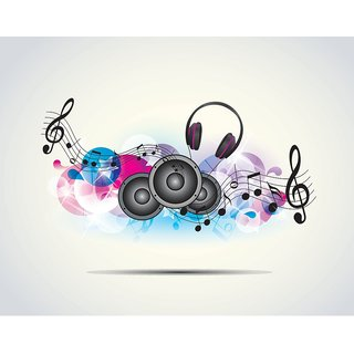 5 ACE MUSIC WAVES WALL POSTER STICKER FOR BEDROOM,LIVING ROOM,OFFICES OF 300 GSM (12x18 )inch WITHOUT FRAME