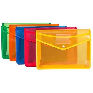 5 Pcs A4 Document Folder/snap Button Organizer/Certificate Holder/Thick PP Storage Bag with Front Back Pockets -Assort