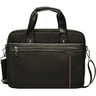 Viva Singapore - SI 1001 (Black) Briefcase Cum Laptop Bag with Cordura Polyester Fabric + PU