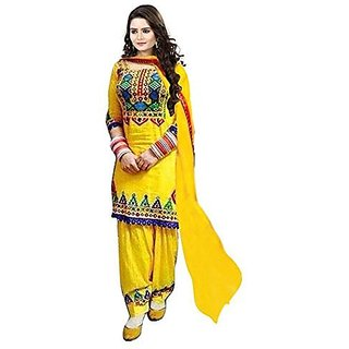 Florence Yellow Cotton Embroidered Semi Stitched Salwar Suit