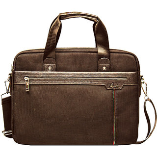 Viva Singapore - SI 1001 (Brown) Briefcase Cum Laptop Bag with Cordura Polyester Fabric + PU
