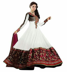 Florence White Georgette Embroidered Semi Stitched Salwar Suit