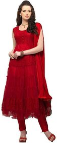 Florence Red Brasso Embroidered Semi Stitched Salwar Suit