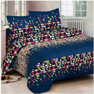 BSB Trendz Poly Cotton Double Bedsheet With 2 Pillow Covers With 140 Tc