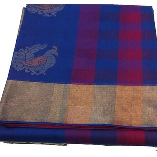 Silk Cotton Saree for Women (Blouse 0.80 MtrBlue) TKSDRRSICO-A020)