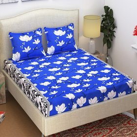 Azaani Beautiful 3D Printed Blue Floral Grace Cotton Double Bedsheet With Two Pillow covers