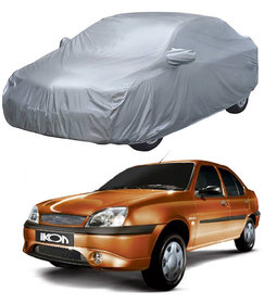 AutoRetail Ford IKON Silver Matty Car Body Cover for 2012 Model (Mirror Pocket, Triple Stiched)