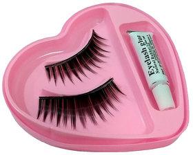 Best Quality Black Natural False Eyelashes Fake Eye Lashes With Glue (1 Pair)
