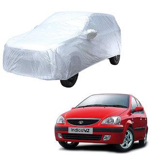 AutoRetail Tata INDICA Silver Matty Car Body Cover for 2002 Model (Mirror Pocket, Triple Stiched)