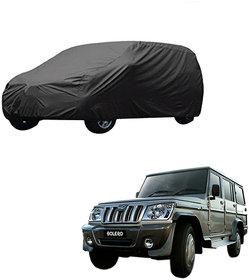 AutoRetail Mahindra BOLERO Grey Car Body Cover for 2015 Model (Triple Stiched, without Mirror Pocket)