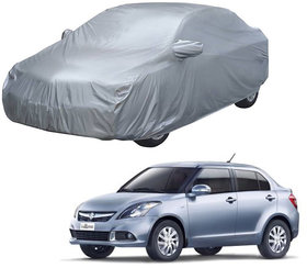 AUTORETAIL Maruti Suzuki Swift Dzire Silver Matty Car Body Cover for 2019 Model (Mirror Pocket, Triple Stiched)