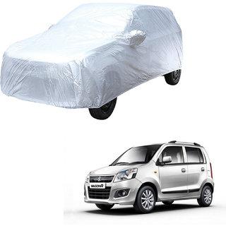 AutoRetail Maruti Suzuki WagonR Silver Matty Car Body Cover for 2013 Model (Mirror Pocket, Triple Stiched)