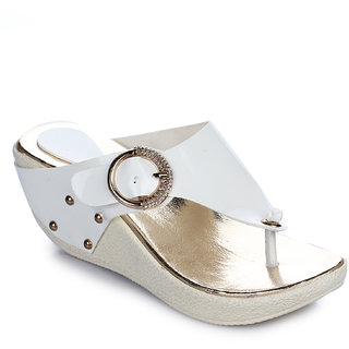 Aasheez Women Casual Faux Leather White Wedges