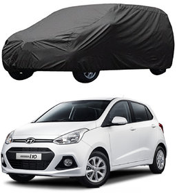 AutoRetail Hyundai Grand i10 Grey Car Body Cover for 2007 Model (Triple Stiched, without Mirror Pocket)