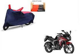 Kunjzone Red & Blue Matty Bike Cover With Mirror Pockets For Yamaha Fazer